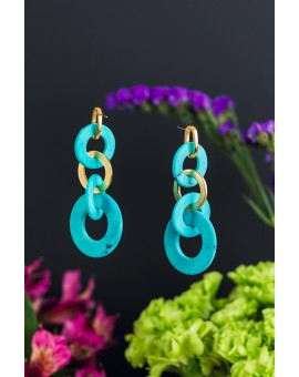 Looped Turquoise and Metal Earrings