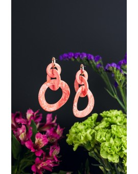 Looped Salmon Earrings