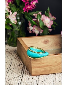 Turquoise Resin and Metal Bracelet
