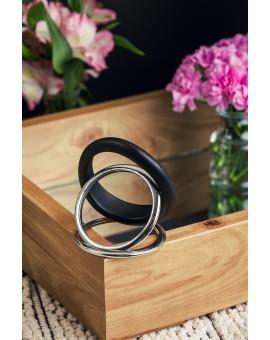 Black Resin and Metal Bracelet