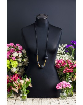 Black and Gold Tie Necklace