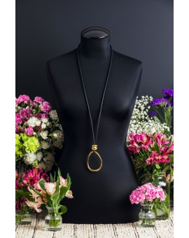 Black and Gold Amorphic Egg Necklace