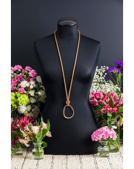 Stone and Rose Gold Amorphic Egg Necklace