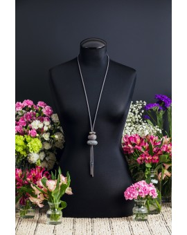 Resin Stones Grey Tie Necklace