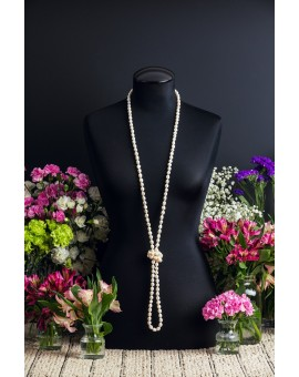 Extra Long White Pearl Necklace