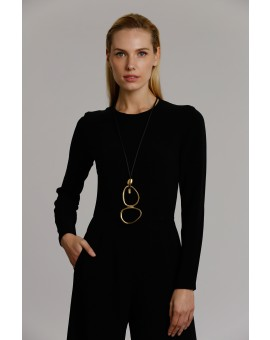 2 Eggs Necklace- Black W Gold
