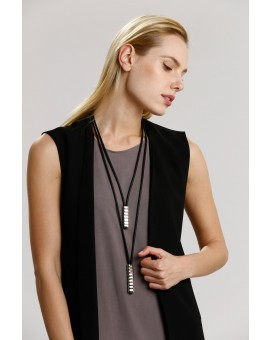 Double Brick Necklace- Black W Silver