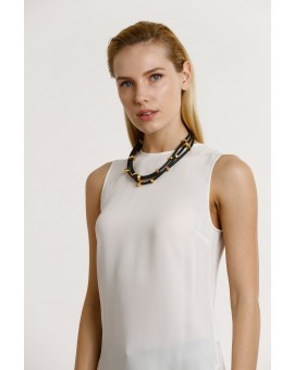 Short Rubber Stone Necklace- Black W Gold