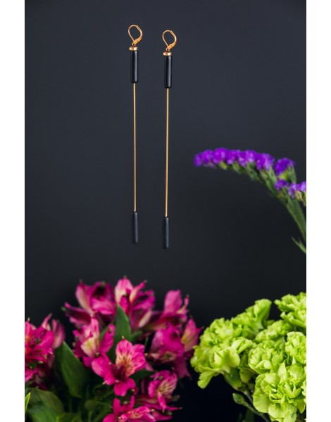 Long Double Cylinder Earrings