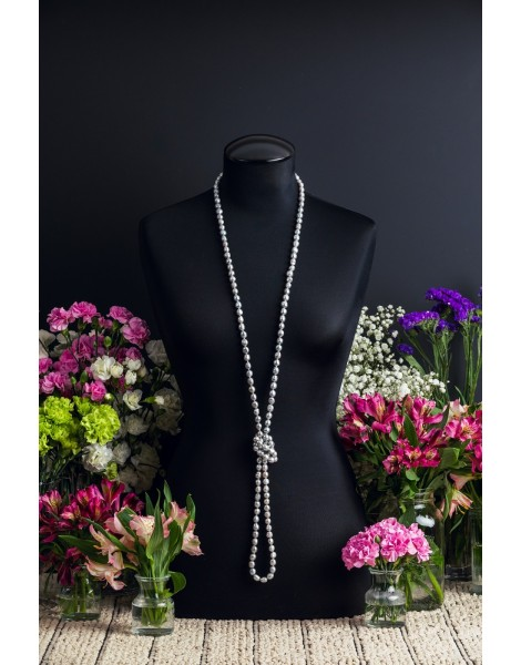 Extra Long Grey Pearl Necklace